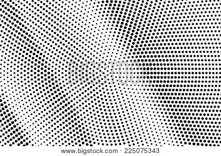 Black White Dotted Halftone Vector Background. Contrast Rough Dotted Gradient. Minimalistic Halftone