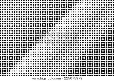 Black White Dotted Halftone Vector Background. Regular Rough Dotted Gradient. Minimalistic Halftone