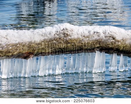 The view of  icicles on a shore of the Lake Ontario in Toronto, Canada, January 30, 2018