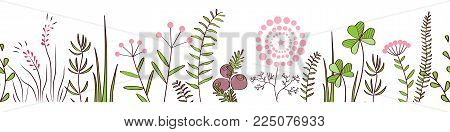 Vector seamless border with forest and meadow plants. Hand drawn doodle background for frames, decorative scotch tape, posters, kids illustrations.