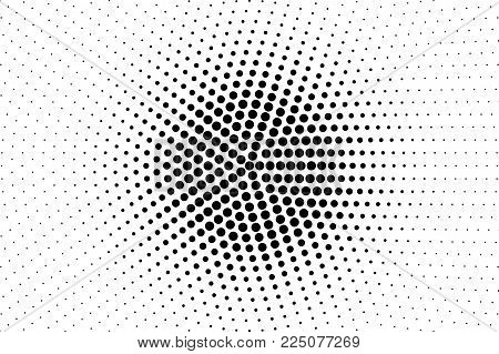 Black White Dotted Halftone Vector Background. Gungy Centered Dotted Gradient. Mininalistic Halftone