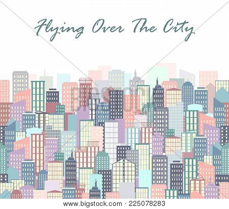 City landscape vector illustration. Urban skyline. Background with buildings in flat style. City poster or banner