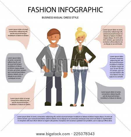 Business Cusual dress style infographic. Man and woman isolated on white background with speech bubbles. Vector illustration of people in formal clothes.