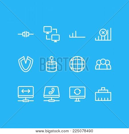 Vector illustration of 12 web icons line style. Editable set of no connection, wired, voip gateway and other icon elements.