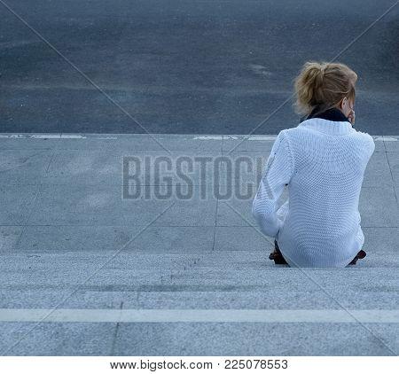 Urban Scene With Woman