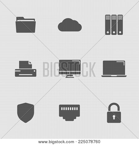 Technology simple icons set. Cloud computing, remote access, server administration and data protection icons.