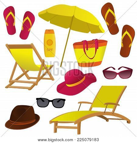 Beach accessory icons collection on white background. Deck chair, hats, sun glasses, beach bag objects set for your design. Vector illustration