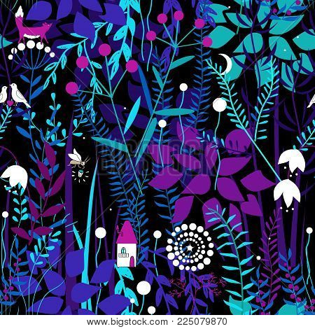 Vector seamless pattern with night forest plants, and fairy house. Fairy doodle fantasy plants.