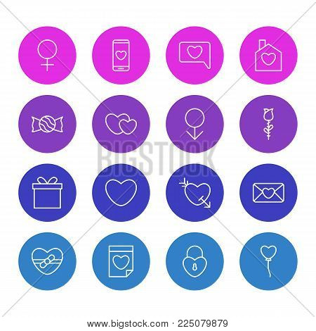 Vector illustration of 16 amour icons line style. Editable set of soul, chat, candy icon elements.
