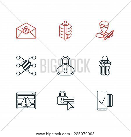 Vector illustration of 9 security icons line style. Editable set of access denied, keychain, mobile transaction and other icon elements.