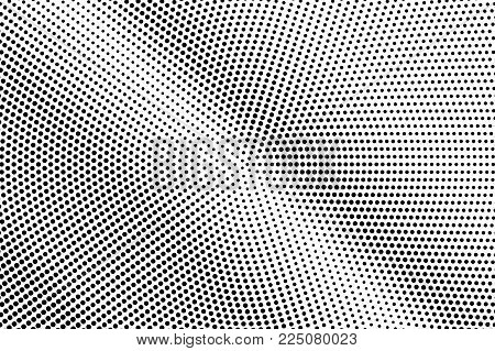 Black White Dotted Halftone. Half Tone Vector Background. Frequent Diagonal Dotted Gradient. Abstrac