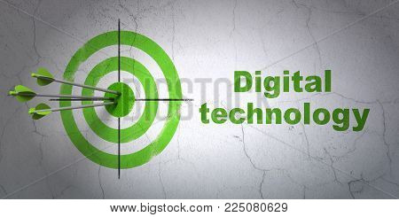 Success Information concept: arrows hitting the center of target, Green Digital Technology on wall background, 3D rendering