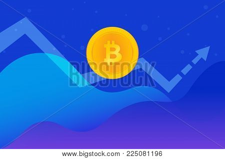 Bitcoin golden symbol concept gradient vector illustration of huge growth and down trend on cryptocurrency markets. Abstract financial graphs with gold coin and big arrow going up on blue background