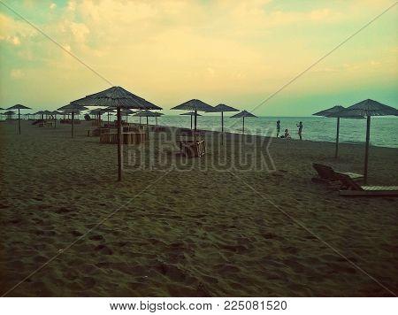 Amazing beach. Sand, parasol and sea. Beautiful Ada Bojana, Montenegro, Europe