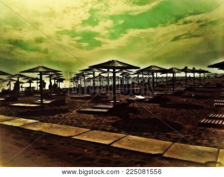 Amazing Beach, Ada Bojana , Montenegro, Europe. Sand , Sky, Parasol And Sun. Perfect Place To Relax