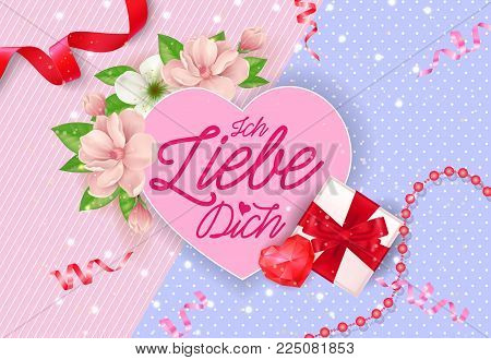 Ich liebe dich day lettering on pink heart with blooming twig, heart and gift box. Calligraphic inscription can be used for greeting cards, romantic messages, posters, banners.