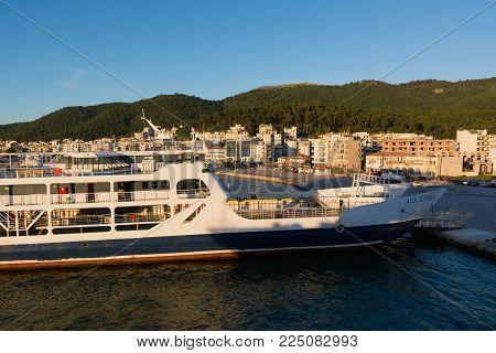 IGOUMENITSA, GREECE - MARCH 2, 2017: Igoumenitsa port in Greece. Ships and Ferries to the island of Corfu.