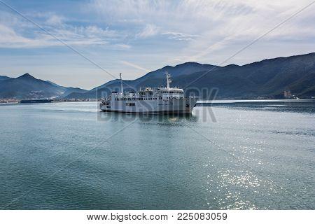 IGOUMENITSA, GREECE - MARCH 5, 2017: Ferry from port of Igoumenitsa to Corfu Island, Greece.