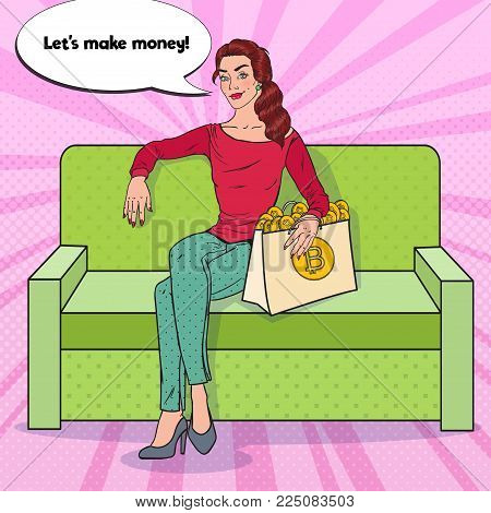 Pop Art Business Woman with Shopping Bag full of Bitcoin Cryptocurrency. Virtual Currency. Vector illustration