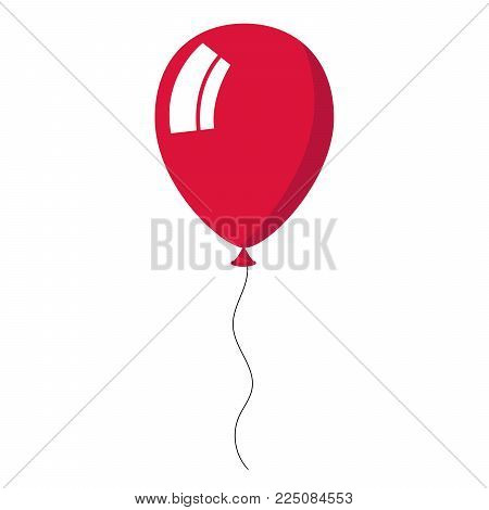 Crimson balloon on white background. Vector Illustration.
