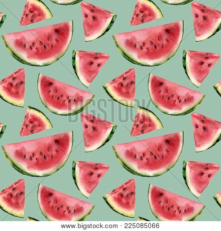 Watercolor watermelon semless pattern. Hand painted watermelon slice isolated on pastel blue background. Sweet dessert. Food illustration for design, print or fabric