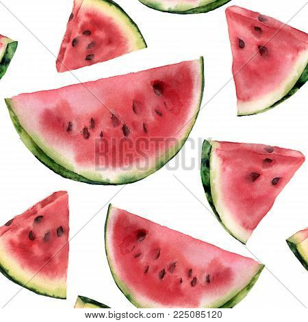 Watercolor watermelon pattern. Hand painted watermelon slice isolated on white background. Sweet dessert. Food illustration for design, print or fabric