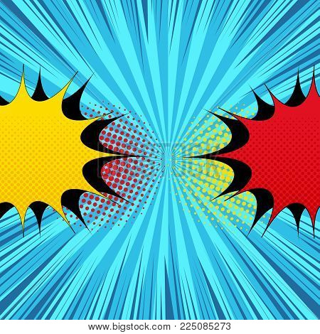Comic book bright template with two opposite yellow and red speech bubbles, halftone and rays on blue radial background. Vector illustration