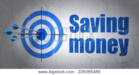 Success business concept: arrows hitting the center of target, Blue Saving Money on wall background, 3D rendering