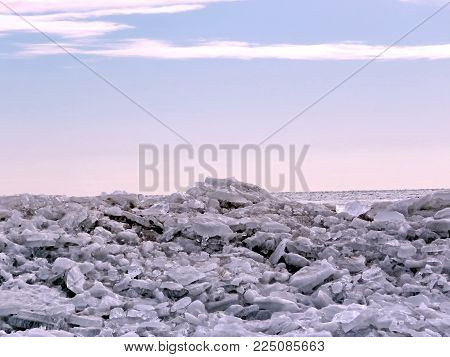 The ice landscape on a shore of the Lake Ontario in Toronto, Canada, January 25, 2018