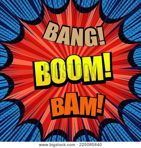 Explosive comic bright template with Bang Boom and Bam wordings, red big speech bubble, halftone, rays and radial effects. Vector illustration