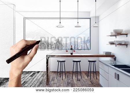 Hand drawing unfinished kitchen interior with equipment and furniture. Project and engineering concept. 3D Rendering