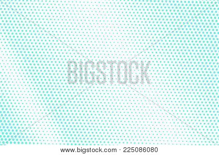 Blue White Dotted Halftone. Half Tone Vector Background. Faded Diagonal Dotted Gradient. Abstract Fu