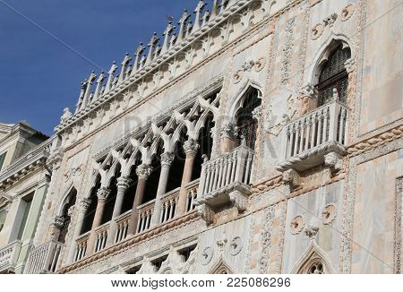 Venice, Italy - December 31, 2015: fabulousness architectonic  detail  of an ancient Palace called Ca D Oro that means Golden House