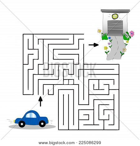 Children s illustration with a car, garage and labyrinth. Help the car find its way to the garage. Vector graphics. Hand drawing.