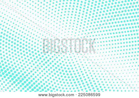 Mint Blue Dotted Halftone. Half Tone Vector Background. Faded Dotted Gradient. Cold Palette Futurist