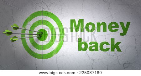 Success business concept: arrows hitting the center of target, Green Money Back on wall background, 3D rendering