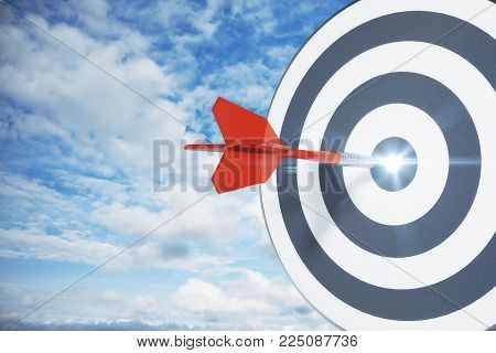 Dartboard on sky background. Targeting, aiming and aim concept. 3D Rendering
