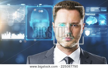Businessman portrait with digital interface. Face recognition concept. Double exposure