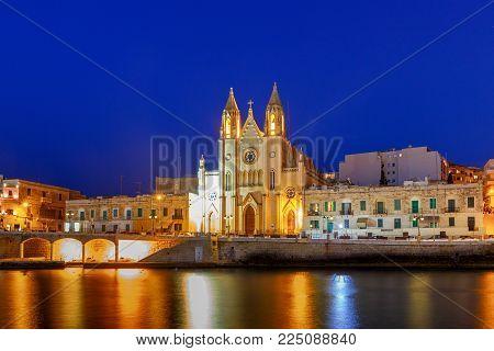 Our Lady of Mount Carmel Church on Balluta Bay in St. Julian's. Malta.