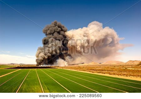 A Farmer in Arlington Arizona trying to clear his field with a control burn ended up setting fire to the dry brush in the Gila River. Winds gusting to 40 MPH fanned the flames for the whole day. Fire Fighters from as far as 50 miles away came to fight.