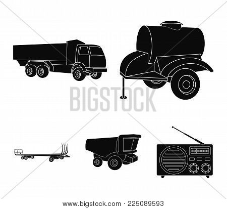 Trailer with a barrel, truck and other agricultural devices. Agricultural machinery set collection icons in black style vector symbol stock illustration .