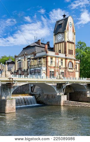CZECH REPUBLIC, HRADEC KRALOVE - MAY 7, 2015: art nouveau building of Labe power station on Elbe river, historical town Hradec Kralove, Czech republic