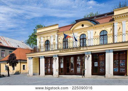 CZECH REPUBLIC, HRADEC KRALOVE - MAY 7, 2015: neo-renaissance style Klicperovo theatre, historical town Hradec Kralove, Czech republic