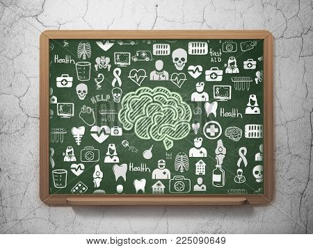 Healthcare concept: Chalk Green Brain icon on School board background with  Hand Drawn Medicine Icons, 3D Rendering