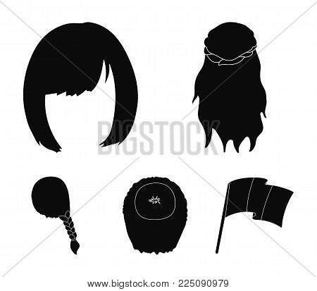 Kara, red braid and other types of hairstyles. Back hairstyle set collection icons in black style vector symbol stock illustration .