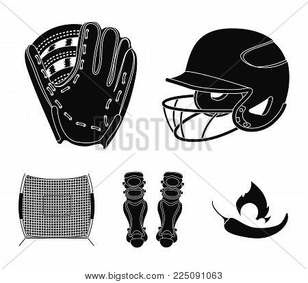 Helmet protective, knee pads and other accessories. Baseball set collection icons in black style vector symbol stock illustration .