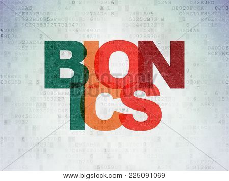 Science concept: Painted multicolor text Bionics on Digital Data Paper background