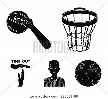 Basketball basket, autograph on the ball, referee on the game, gesture time out. Basketball set collection icons in black style vector symbol stock illustration .
