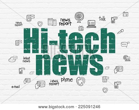 News concept: Painted green text Hi-tech News on White Brick wall background with  Hand Drawn News Icons