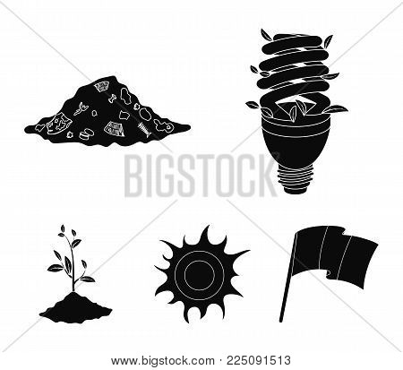 An ecological lamp, the sun, a garbage dump, a sprout from the earth.Bio and ecology set collection icons in black style vector symbol stock illustration .